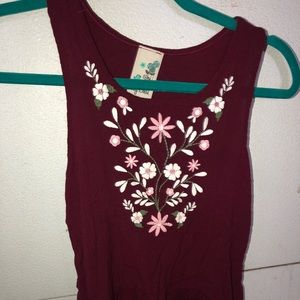 Maroon girls size L(14) tank top with flowers